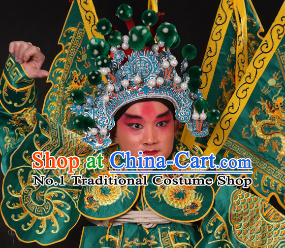 Chinese Traditional Handmade Opera Wu Sheng Military General Superhero Helmet