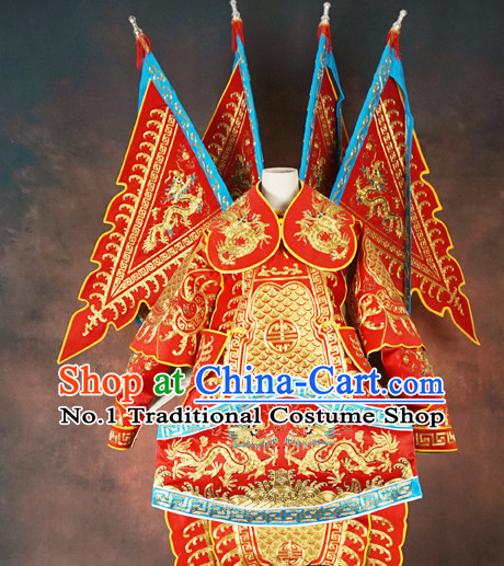 Chinese Beijing Opera Costumes Peking Opera Wu Sheng Embroidered Armor Costumes and Flags for Men