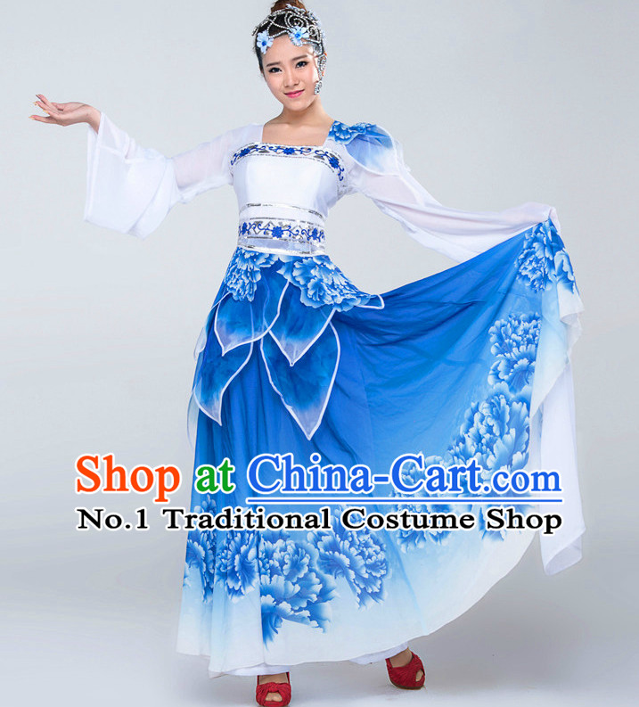 Traditional Chinese Blue and White Classical Dance Costumes Complete Set for Women