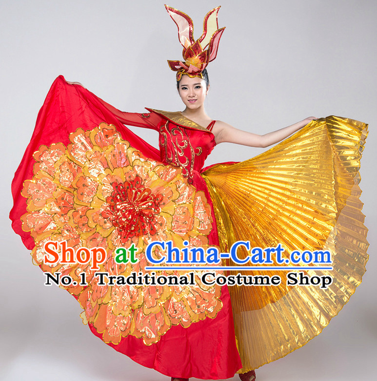 Chinese Lyrical Girls Dancewear Dance Costumes for Competition