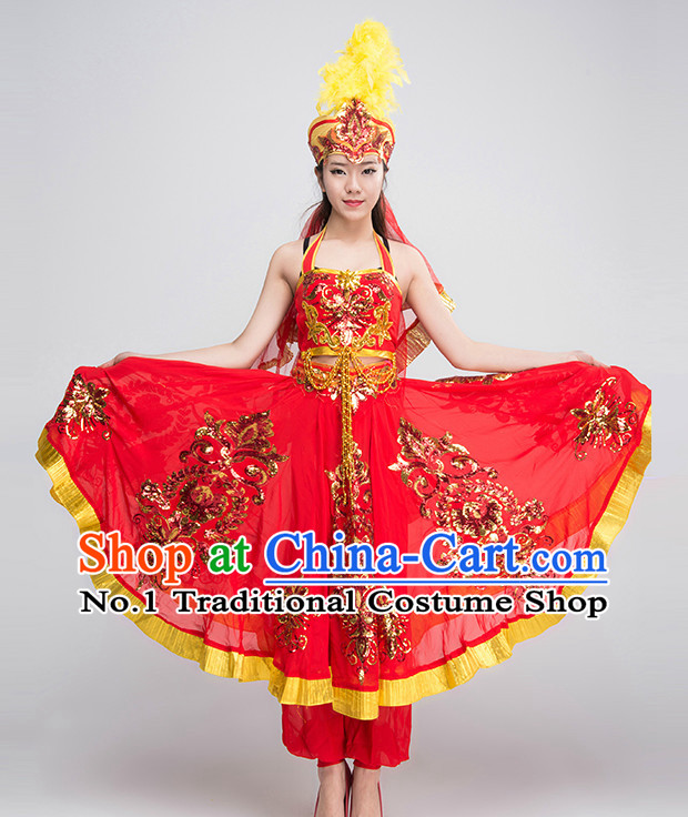 Chinese Xinjiang Dance Costumes Girls Dancewear Dance Costume for Competition