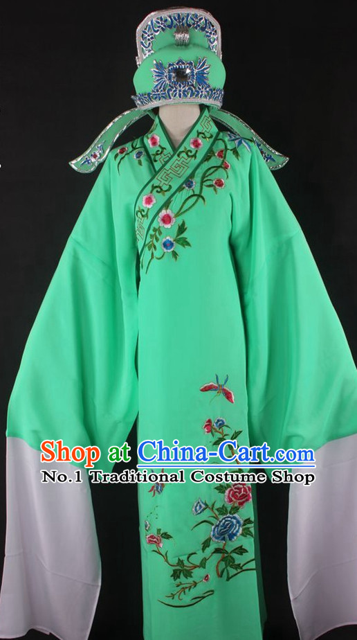 Chinese Culture Chinese Opera Costumes Chinese Cantonese Opera Beijing Opera Costumes Xiao Sheng Costumes and Hat Complete Set for Men