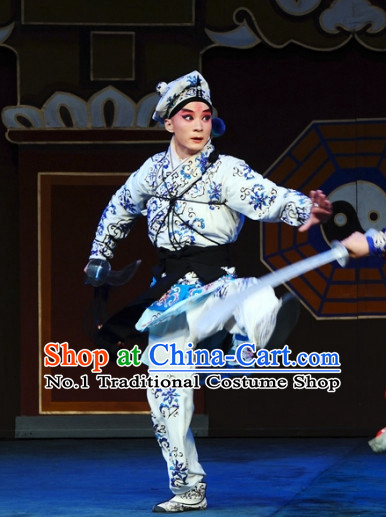 Asian Chinese Beijing Opera Peking Opera Wu Sheng Costumes and Hat Complete Set for Men