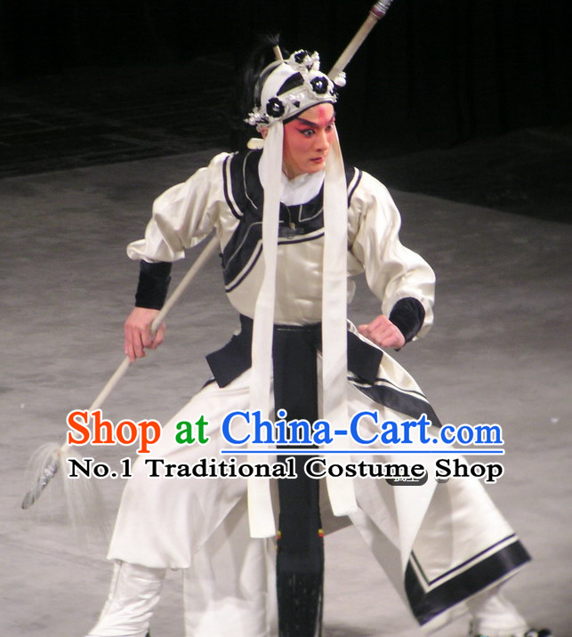 Chinese Ancient Beijing Opera Peking Opera Wu Sheng Costumes and Hat Complete Set for Men