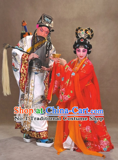 Chinese Peking Opera Empress and Emperor Costumes and Hair Accessories 2 Sets
