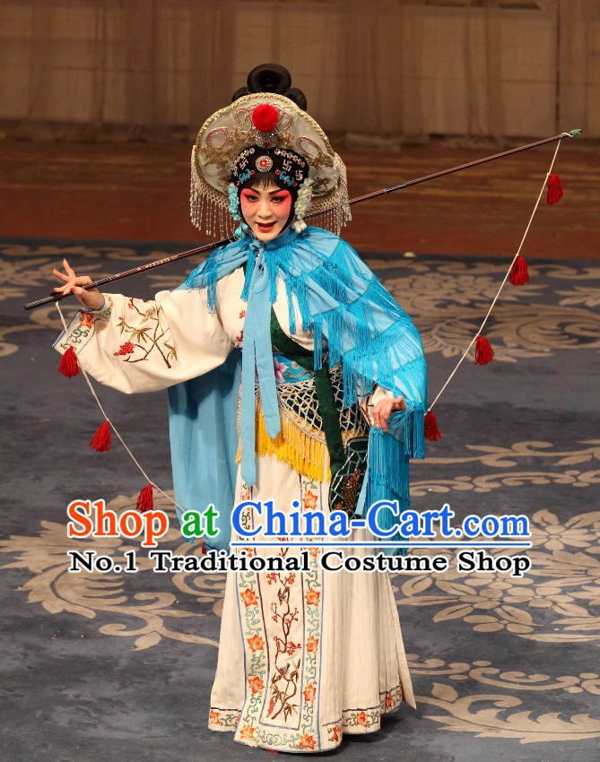 Traditional Chinese Beijing Opera Costumes and Hat Complete Set for Women