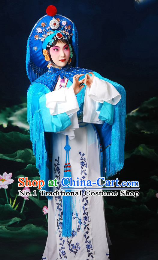 Chinese Peking Opera Beijing Opera Wu Tan Wu Dan Heroine Costumes and Hat Complete Set for Women