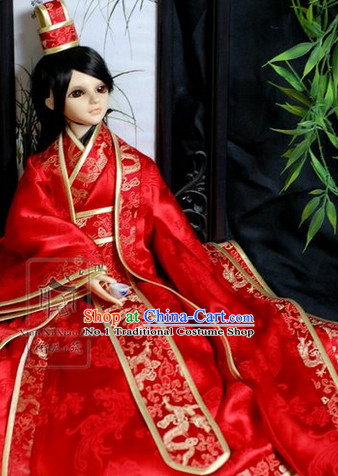 Chinese Red Folk Wedding Dress and Hat for Bridegrooms