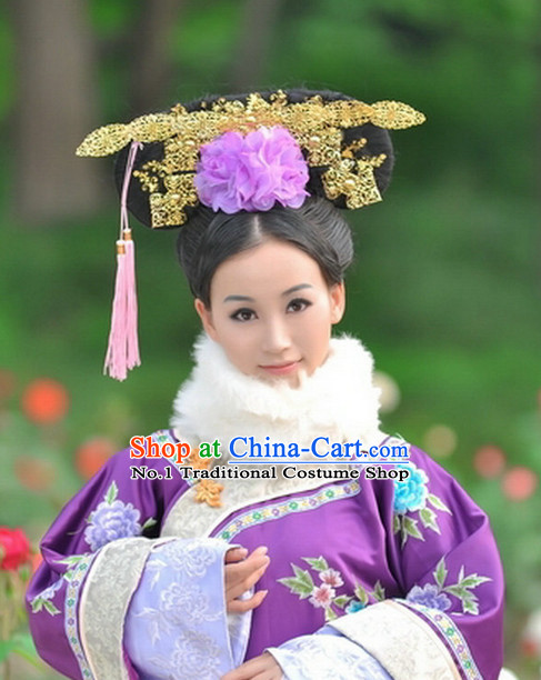 Chinese Qing Dynasty Empress Long Robe Folk Dress and Headpieces Complete Set for Women