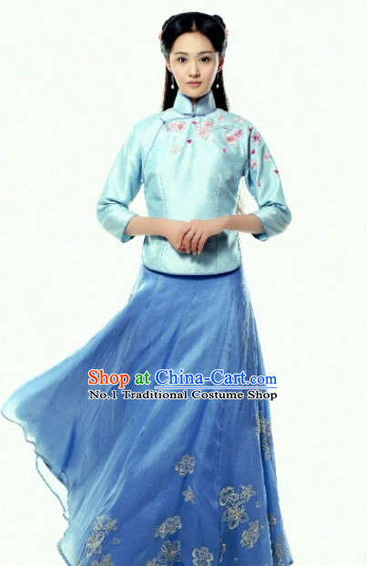 Tradiitonal Chinese Minguo Time Mandarin Dresses Complete Set for Women