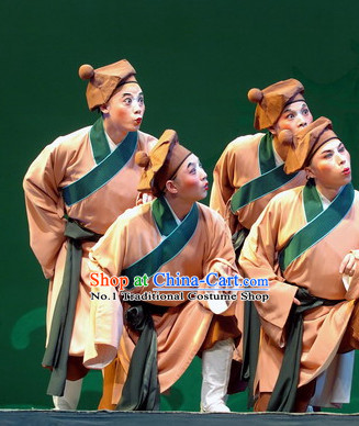 Chinese Traditional Peking Opera Clown Costumes and Hat Complete Set for Men