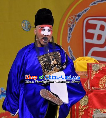 Blue Chinese Traditional Peking Opera Clown Official Costumes and Hat Complete Set for Men