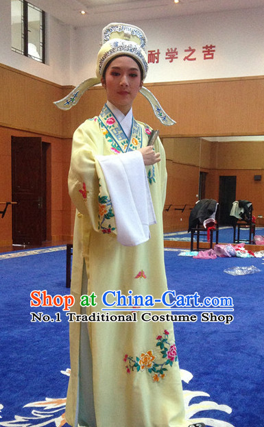Chinese Opera Costumes National Costume Xiao Sheng Masquerade Costumes and Hat