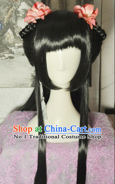 Chinese Style Black Long Wig and Hair Accessories for Girls