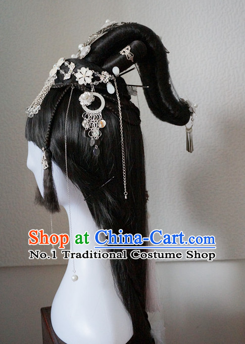 Traditional Chinese Empress Wigs and Handmade Hair Pieces Hair Accessories Hair Jewelry Set
