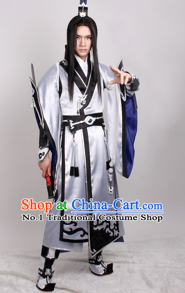 Asia Fashion Top Chinese Taoist Cosplay Wu Xia Chivalry Costumes Complete Set for Men