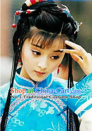 Chinese Qing Female Hair Accessories and Long Wigs