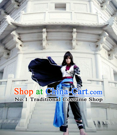 Chinese Traditional Swordsmen Costumes and Accessories Complete Set