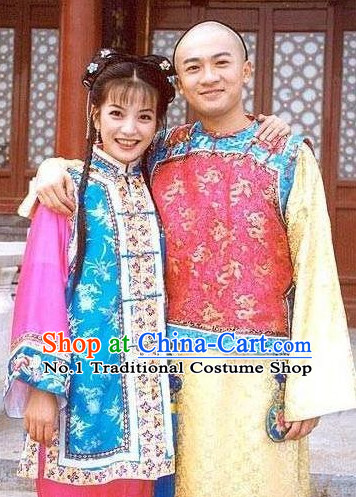Chinese Traditional Manchu Noblewomen and Noblenen Costumes and Headpieces Complete Set