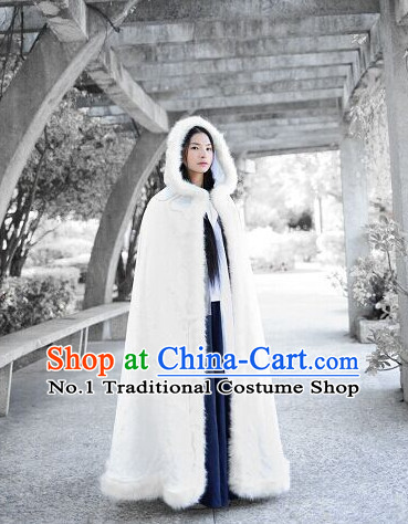 White Chinese Long Mantle Cape