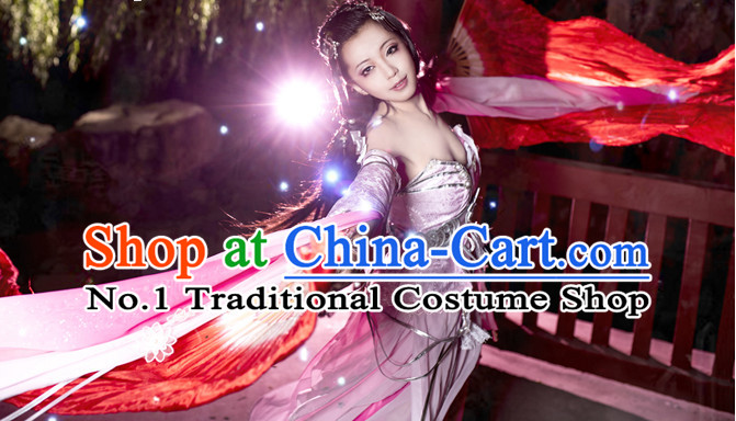 Asian Fashion Chinese Beauty Xi Shi Cosplay Costumes Halloween Costume and Hair Jewelry Complete Set