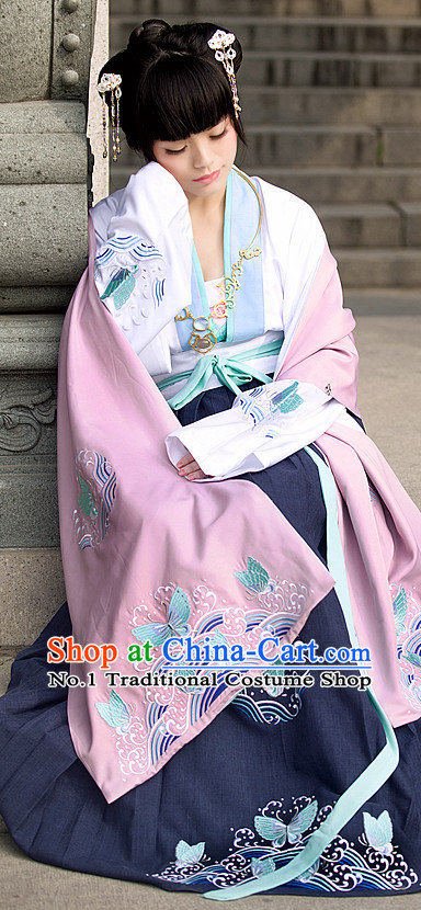 Chinese Ancient Han Dynasty Suit and Hair Jewelry Complete Set
