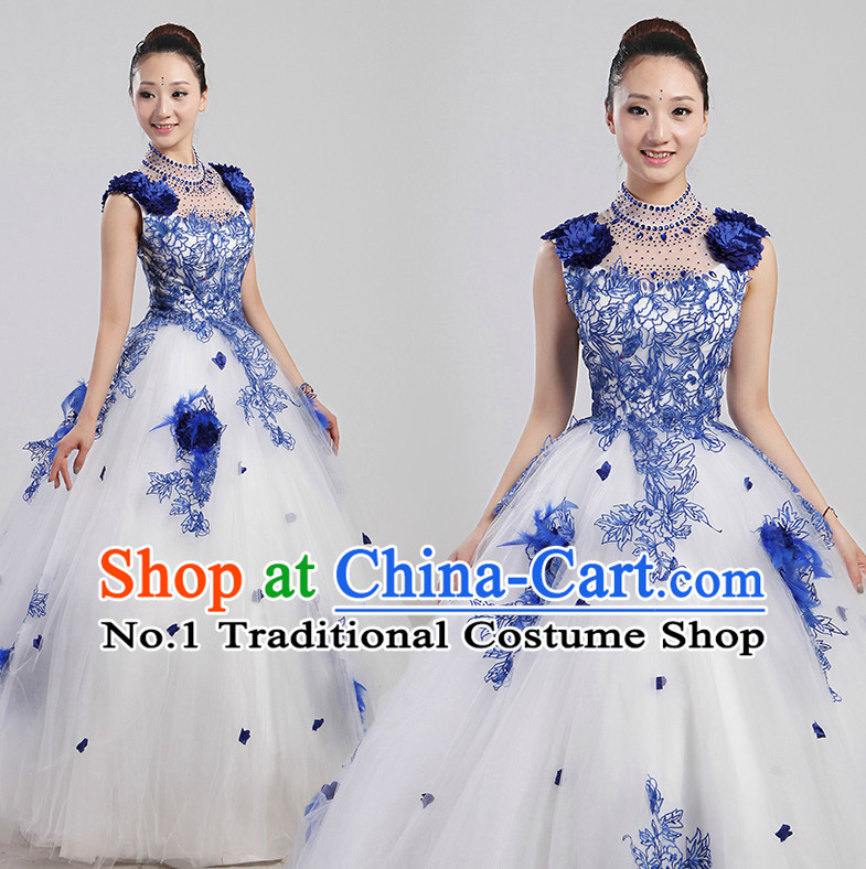 Chinese Folk Flower Dance Costume and Headwear Complete Set for Women