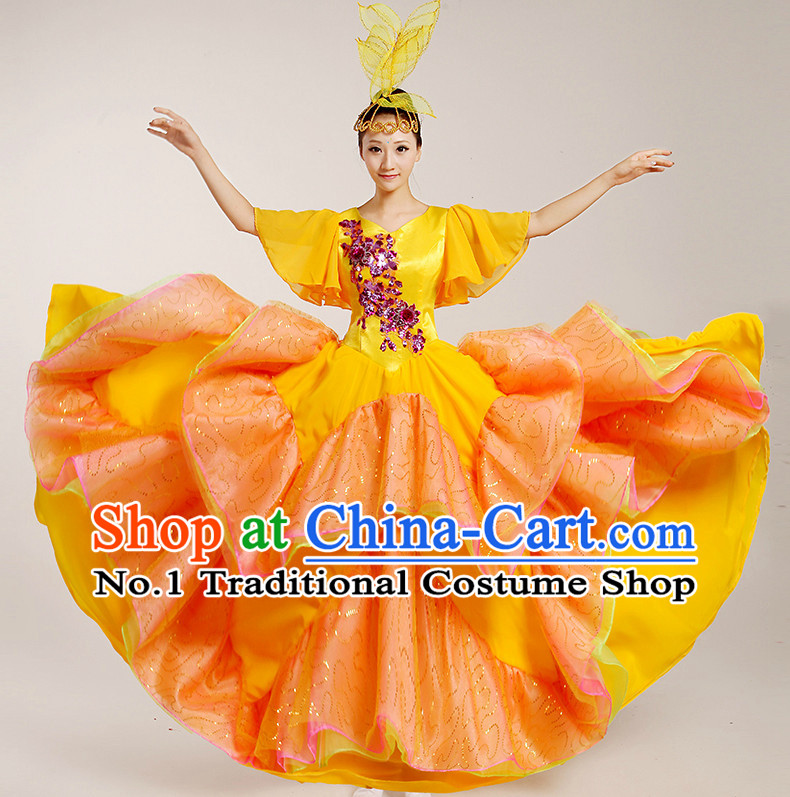 Chinese Flower Dancing Costumes and Headwear Complete Set for Women