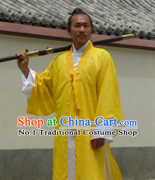 Yellow China Traditional Taoist Dress Complete Set for Men