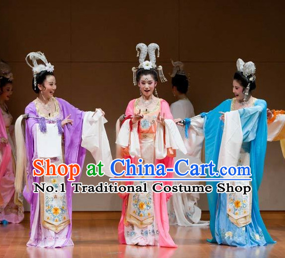 Asian Chinese Traditional Dress Theatrical Costumes Ancient Chinese Clothing Opera Fairy Costumes for Women 3 Sets