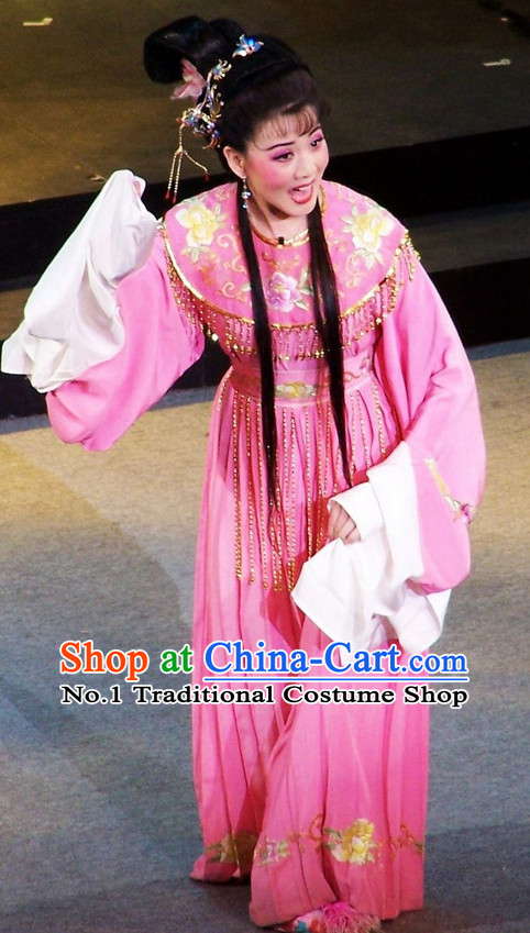 Chinese Traditional Dresses Theatrical Costumes Ancient Chinese Clothing Hanfu Wide Sleeve Fairy Costumes and Hair Accessories