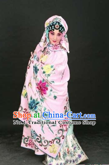 Ancient Chinese Beijing Opera Hua Dan Hua Tan Costumes and Hair Accessories Complete Set for Women