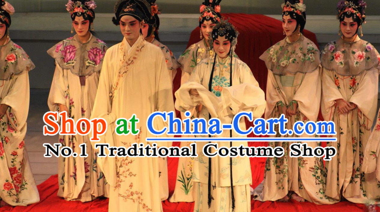 Traditional Chinese Peking Opera Husband and Wife Costumes 2 Sets