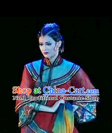 Chinese Classical Dance Costumes and Headwear Complete Set for Women