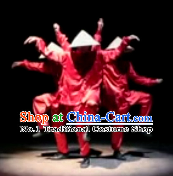 Awesome Chinese Dance Group Costumes and Hat Complete Set for Men