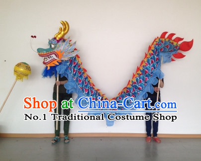 Blue Competition and Parade Dragon Dance Costumes Complete Set for Four People