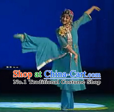 Stage Performance Chinese Opera Dance Costumes and Hair Accessories Complete Set for Women