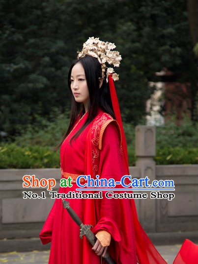 Chinese Traditional Red Wedding Dress and Hair Accessories Complete Set for Women