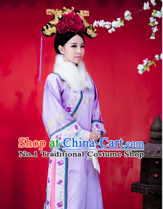 Chinese Traditional Purple Princess Clothes and Hair Accessories Complete Set