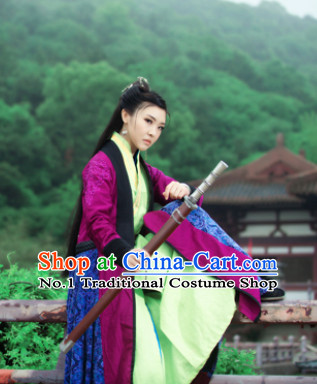Chinese Traditional Swordwomen Han Fu Clothes and Hair Accessories Complete Set for Ladies