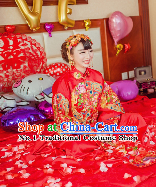 Phoenix Embroidery Chinese Ceremonial Wedding Dresses and Hair Accessories Complete Set for Brides