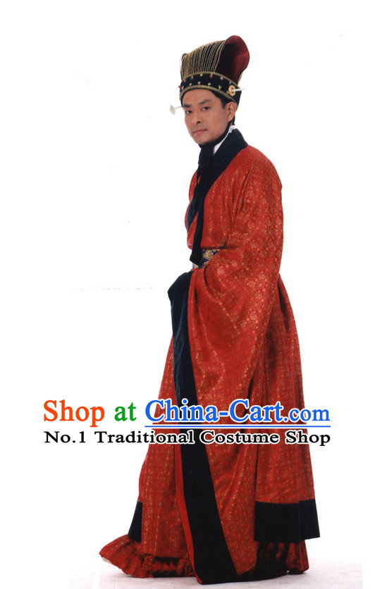 Ancient Chinese Prime Minister Costumes and Hat Complete Set