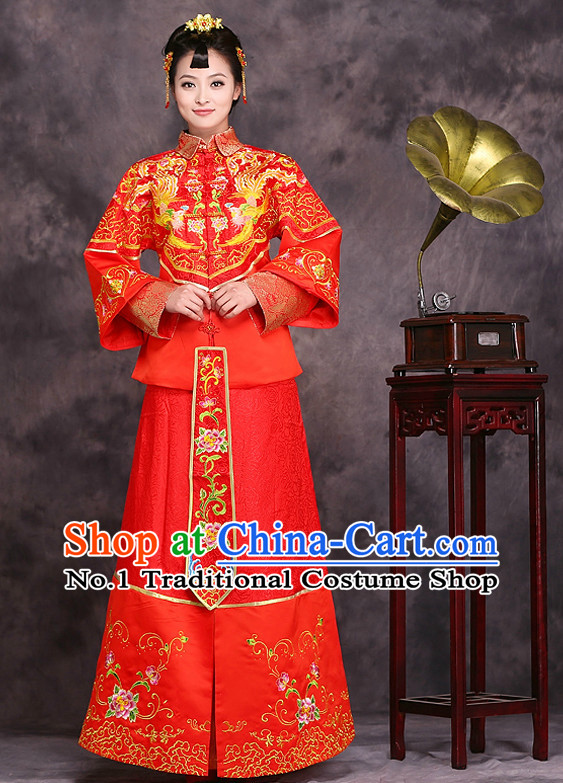 Custom Hanfu Dress Ancient Chinese Phoenix Wedding Dress Clothing and Hair Accessories Complete Set for Women