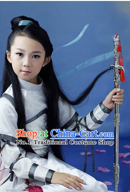 Traditional Chinese Photo Costume Warrior Costume and Hair Accessories Complete Set for Children