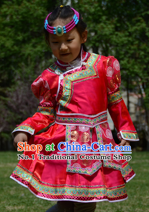 Traditional Chinese Photo Costume Mongolian Costume and Hat Complete Set for Girls