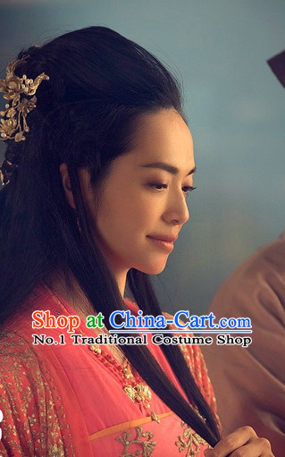 Handmade Chinese Palace Beauty Black Wigs and Hair Ornaments