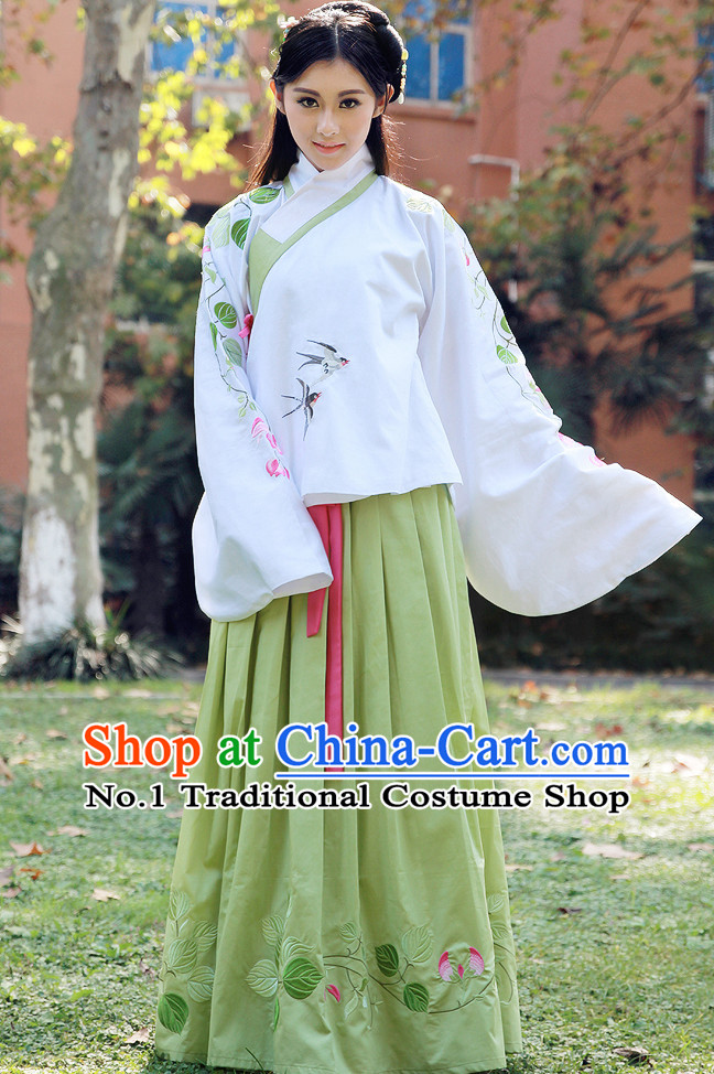 Ancient Chinese Song Dynasty Han Fu Attire and Skirt Clothing Complete Set for Women