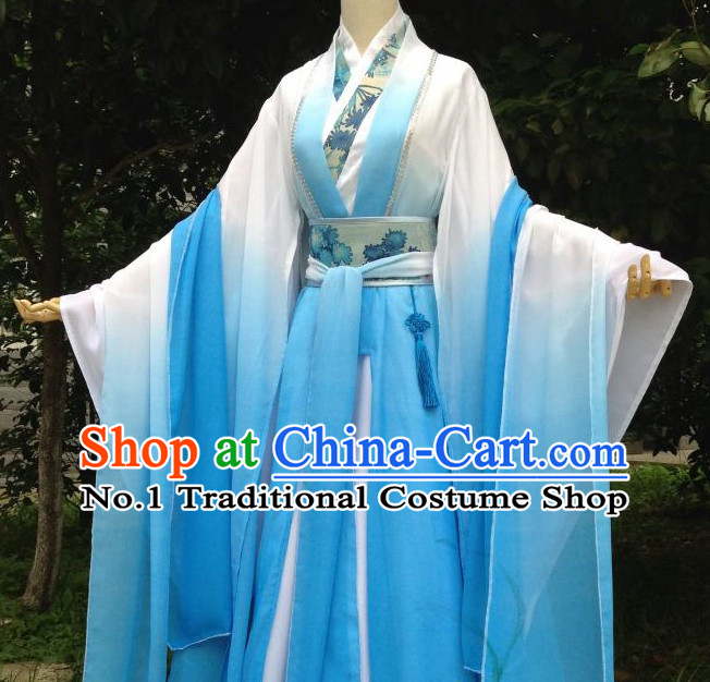 Color Transition Blue Ancient Chinese Costumes Complete Set for Women