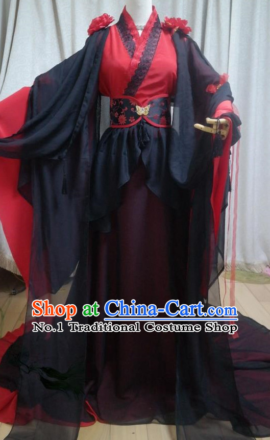 Red Black Ancient Chinese Swordwoman Clothes Complete Set for Women