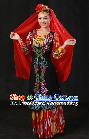 Traditional Chinese Ethnic Uzbekistan Clothing and Hat Complete Set for Women